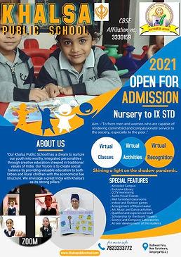 Admission open pic khalsa school 2 2021.
