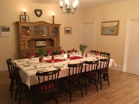 Dining table all ready for out guests