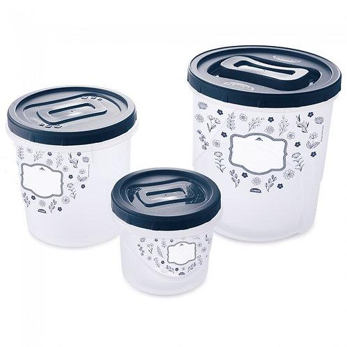 Conjunto de Potes de Plástico Redondos para Mantimentos Rosca