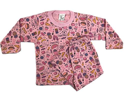 Pijama Mafessoni Feminino Kids Comidas