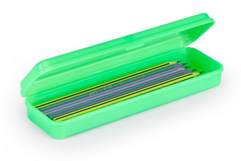 Estojo Plástico Plus Verde Neon