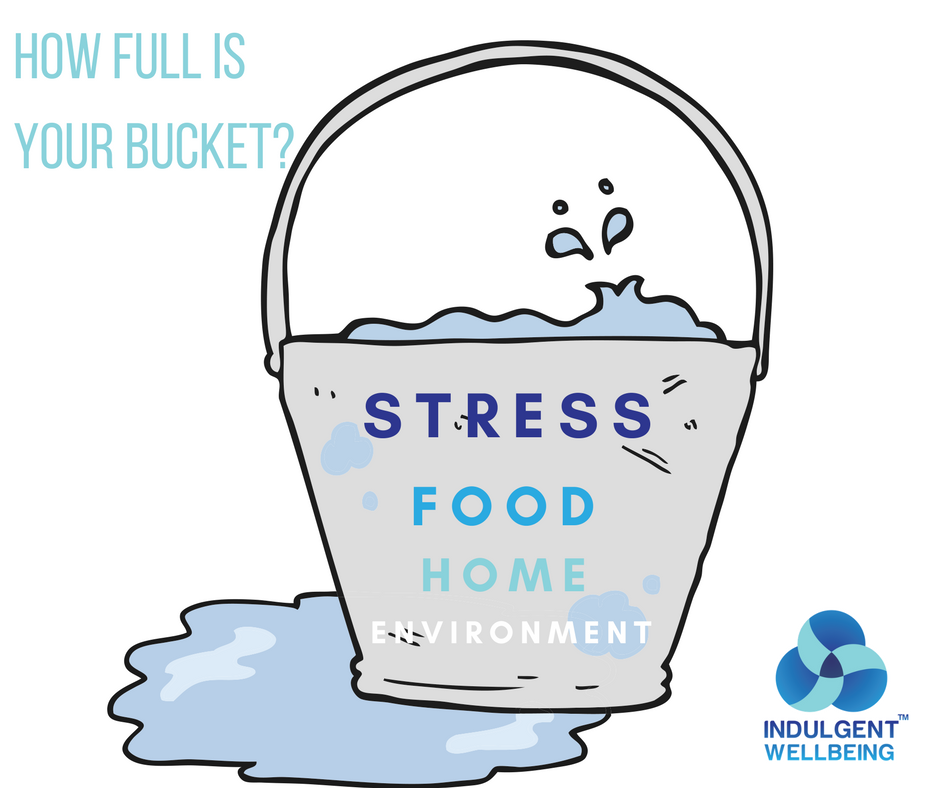 Bucket overflowing with stress and toxins