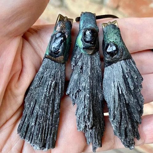 Kyanite w/ Black Tourmaline
