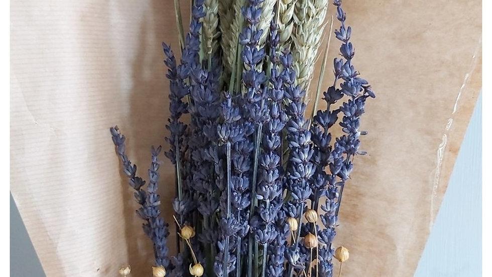 getrockneten Blumen mit Flachs, Weizen und Lavendel - 4x Blumensträuße
