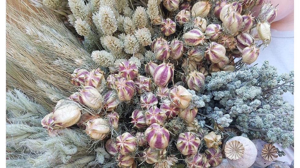 Mischung aus natürlichen getrockneten Blumen, Körnern und Gräsern
