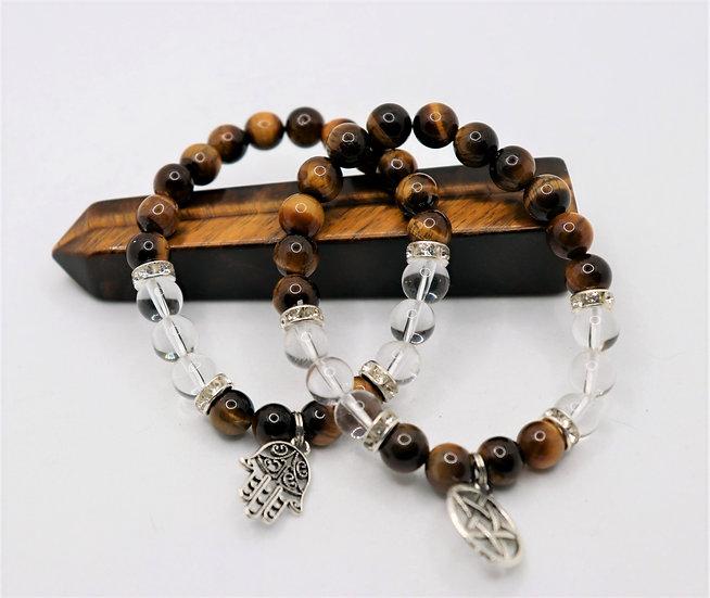 Tigers Eye Bracelet with clear quartz & Charm