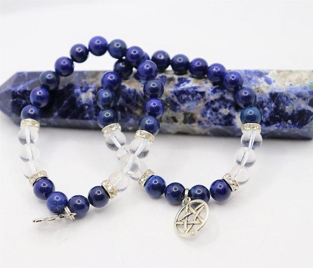 Lapiz Lazuli Bracelet with Clear Quartz & Charm