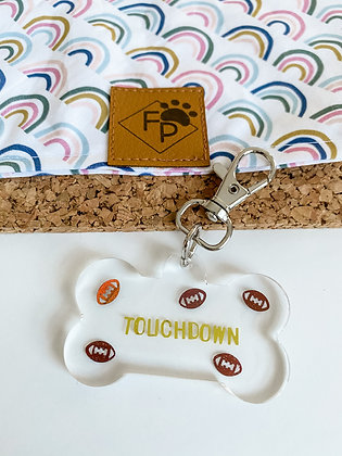 LARGE TOUCHDOWN RESIN DOG TAG