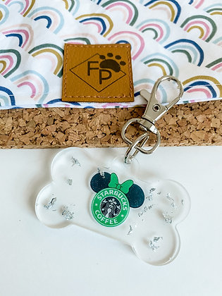 LARGE STARBUCKS MOUSE RESIN DOG TAG