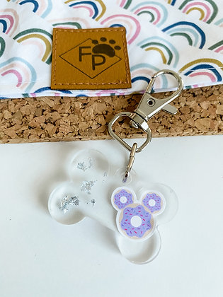 SMALL PURPLE MOUSE DONUT RESIN DOG TAG