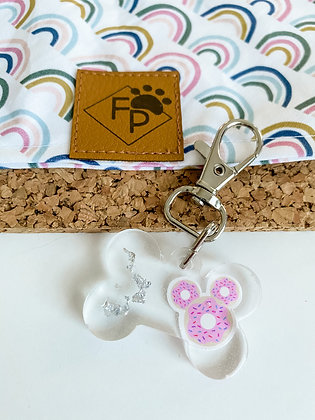SMALL PINK MOUSE DONUT RESIN DOG TAG