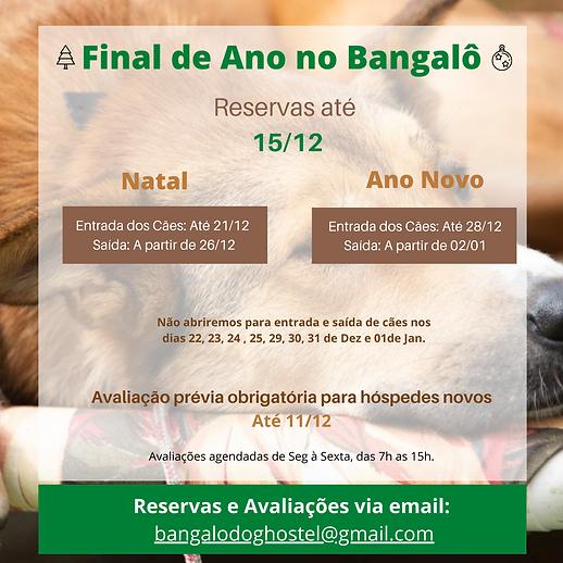 Calendário com as datas de funcionamento da hospedagem de cães do Bangalô para o final de ano
