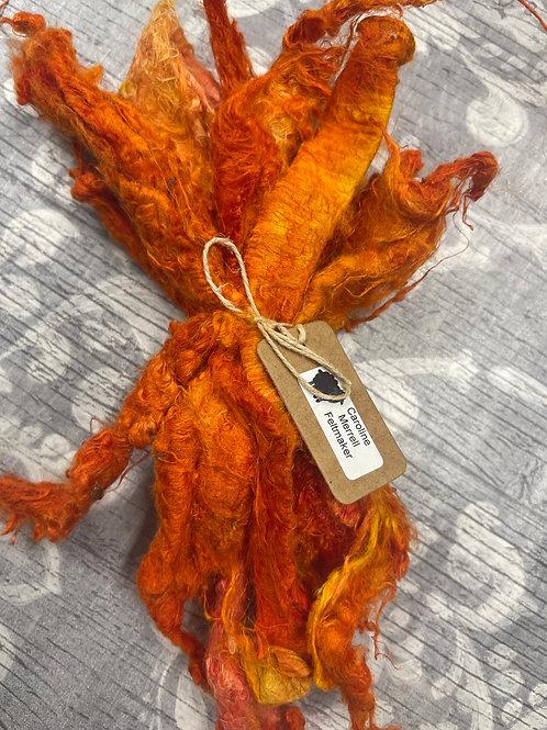 Hand Dyed Silk Waste  - Orange