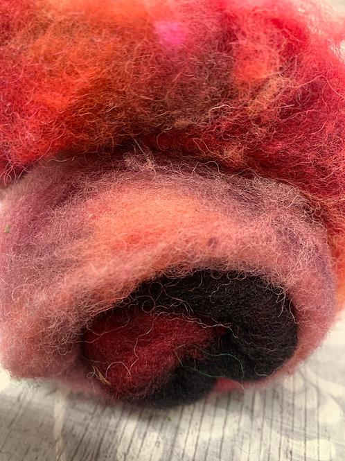 Hand dyed Finnsheep batt 069