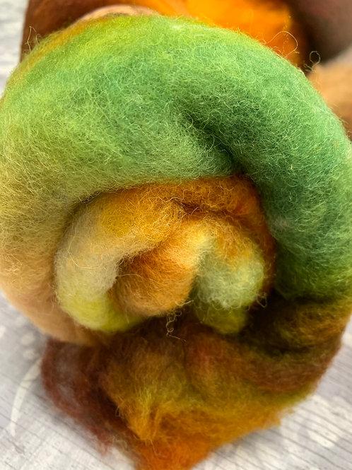 Hand dyed Finnsheep batt 038