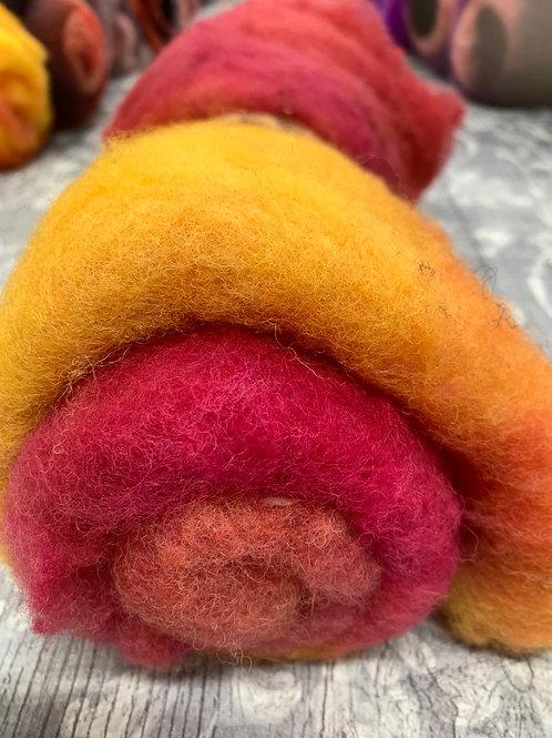 Hand dyed Finnsheep batt 076