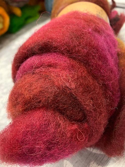 Hand dyed Finnsheep batt 018
