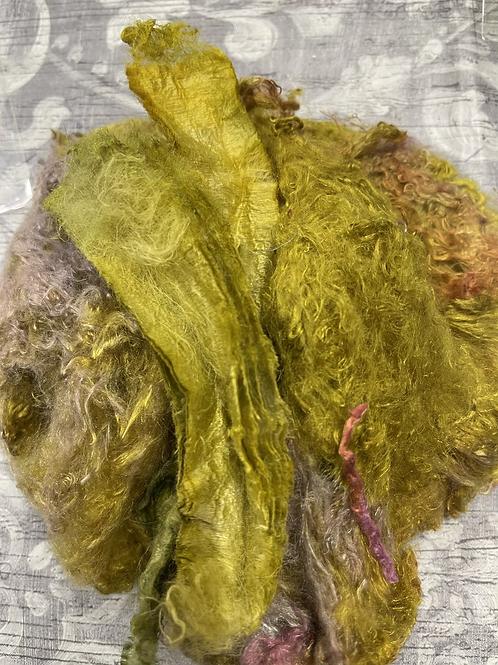 Hand Dyed Silk Waste