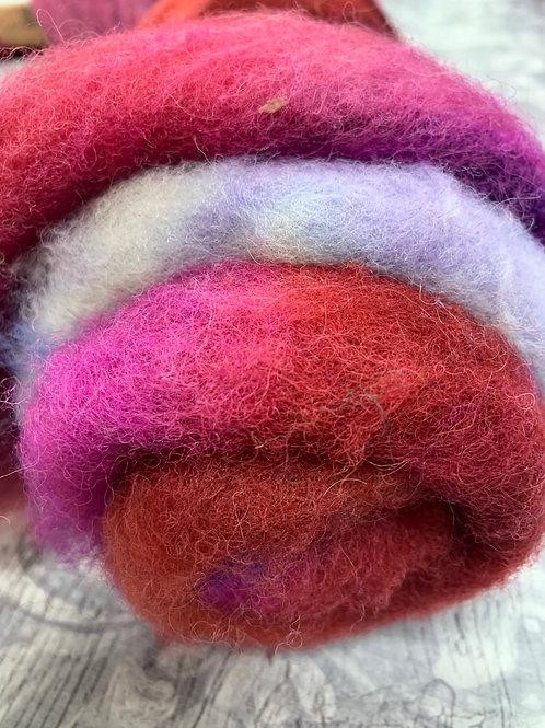 Hand dyed Finnsheep batt 071