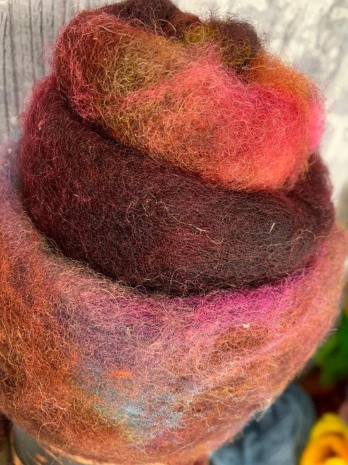 Hand dyed Finnsheep batt 021