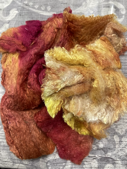 Hand Dyed Silk Waste
