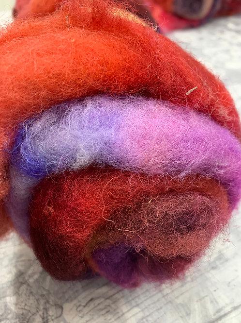 Hand dyed Finnsheep batt 068