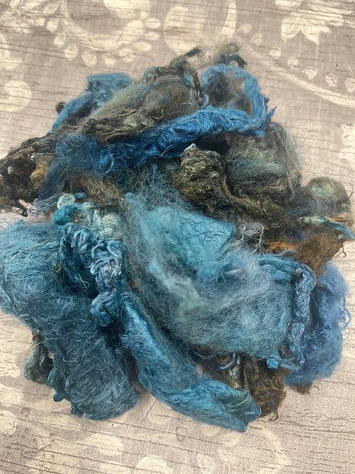 Hand Dyed Silk Waste  - Blue/Grey/Light Brown