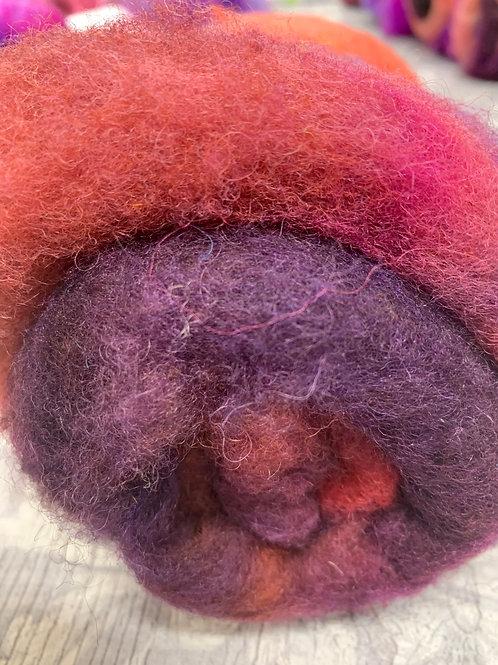 Hand dyed Finnsheep batt 070