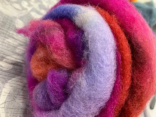 Hand dyed Finnsheep Batt 014