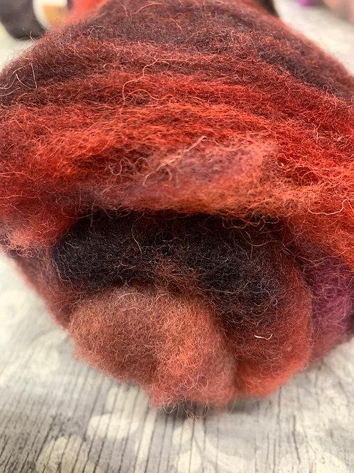 Hand dyed Finnsheep batt 078