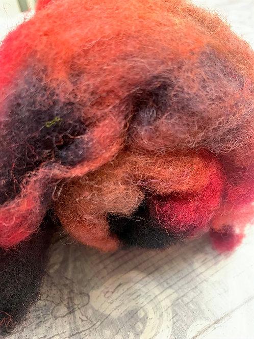 Hand dyed Finnsheep batt 083