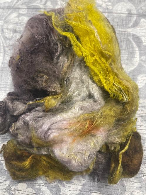 Hand Dyed Silk Waste  - Gold/purple/mauve