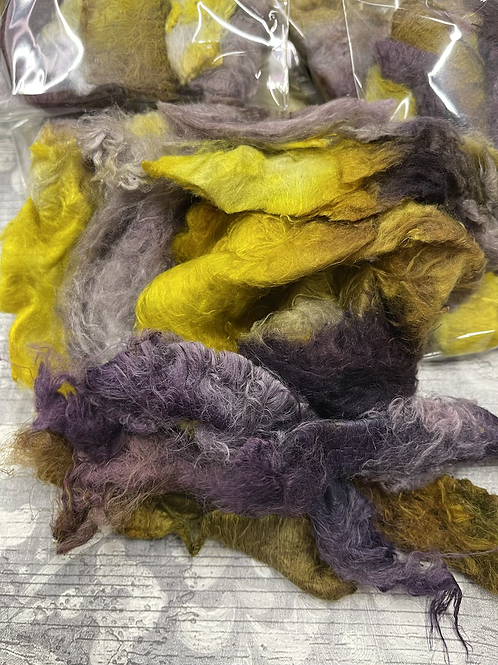 Hand Dyed Silk Waste  - Gold and Purples