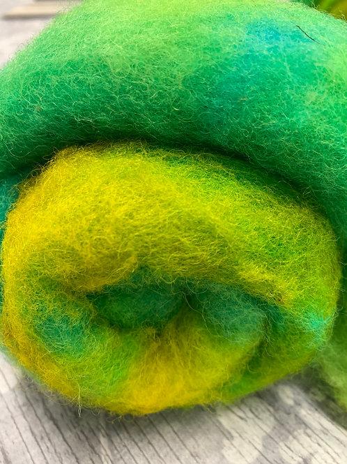 Hand dyed Finnsheep Batt 102