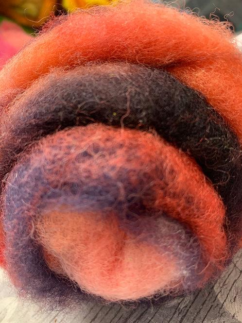 Hand dyed Finnsheep batt 016