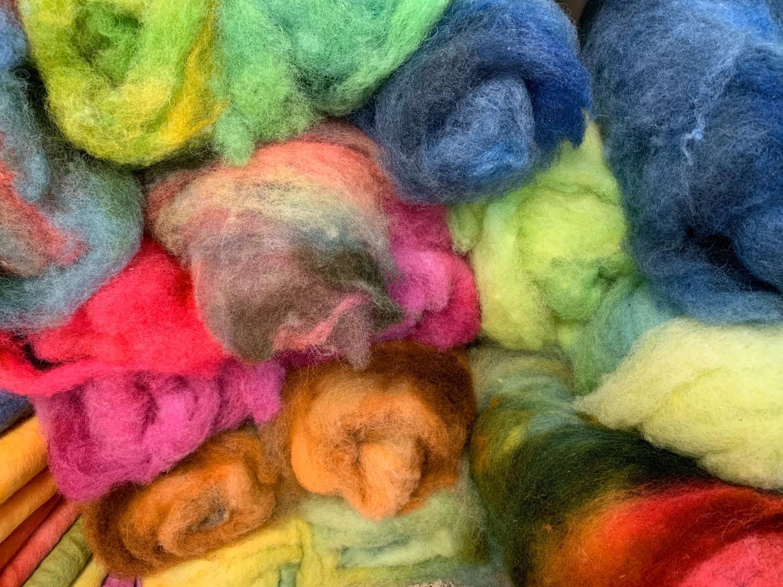 Hand dyed Finnsheep batt