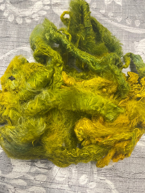 Hand Dyed Silk Waste  - Green/Gold