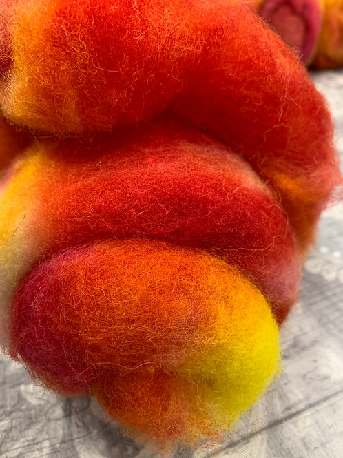 Hand dyed Finnsheep batt 074