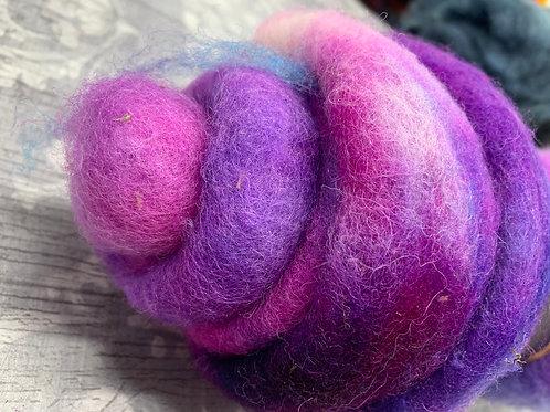 Hand dyed Finnsheep Batt 009