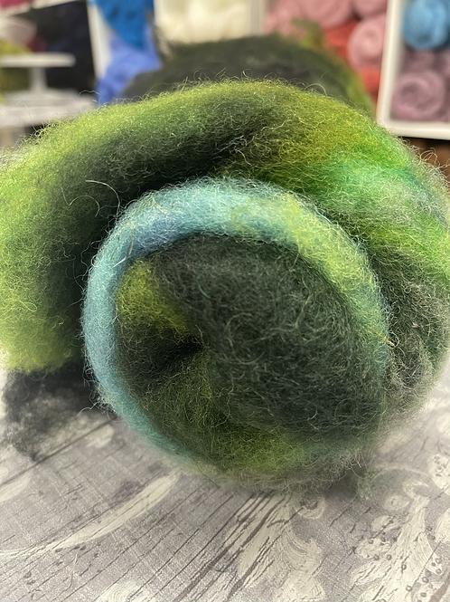 Hand dyed Finnsheep Batt 142