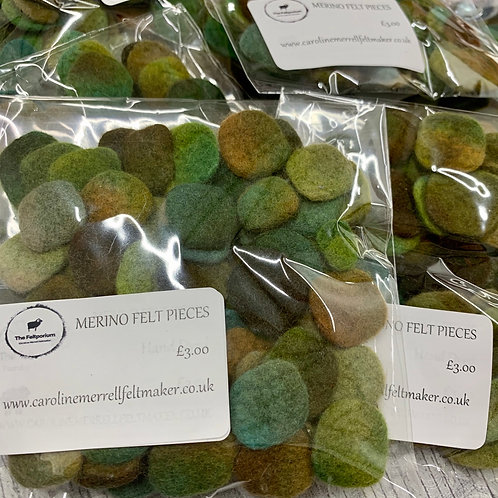 Felt Pieces Greens/Brown