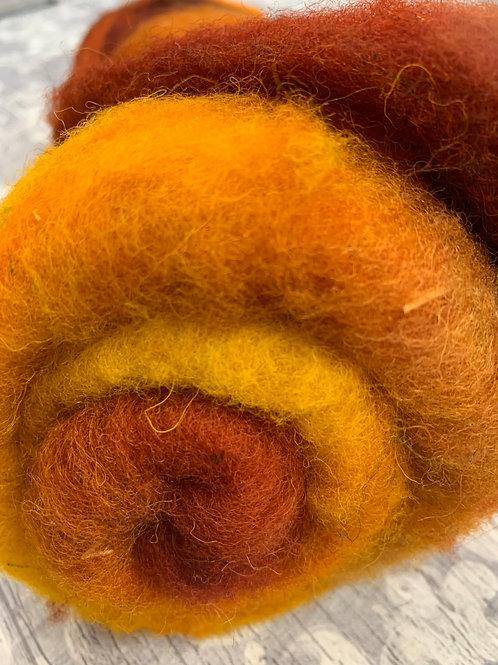 Hand dyed Finnsheep batt 043