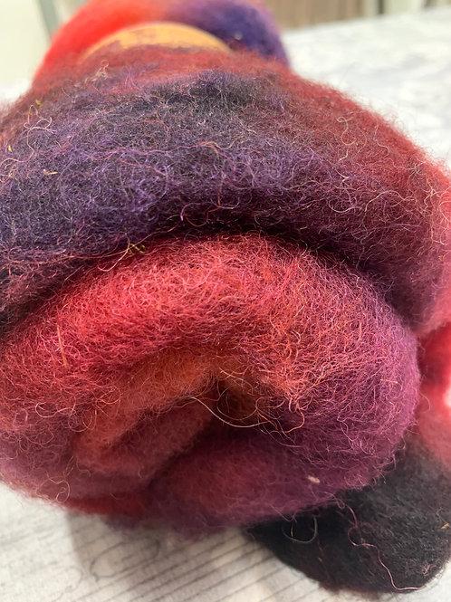 Hand dyed Finnsheep batt 084