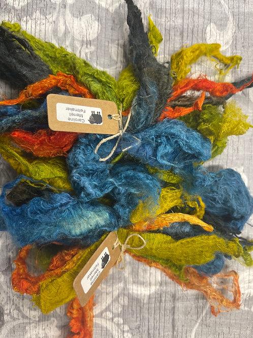 Hand Dyed Silk Waste  - Multi