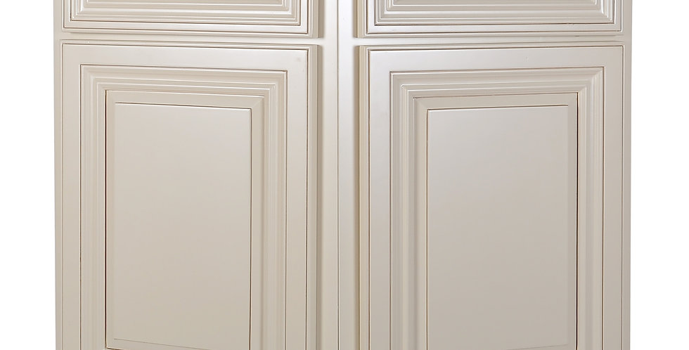 Cream White Base End Angle Cabinet with Two Doors