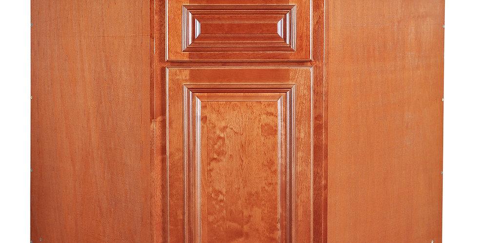 "Wine Maple Sink Base Angle Cabinet 36"""