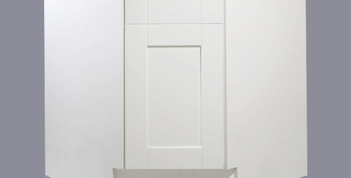 "White Shaker Sink Base Angle Cabinet 36"""