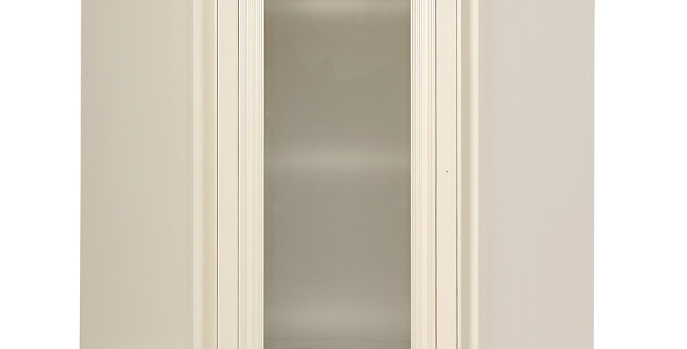 Cream White Wall Diagonal Cabinet with Stained Glass Door