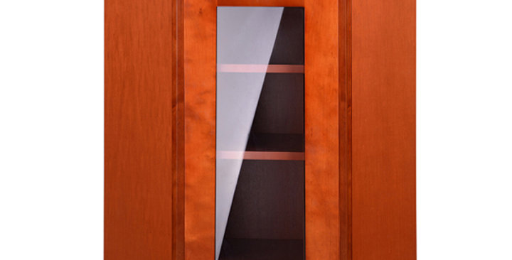 Cherry Shaker Wall Diagonal Cabinet with Clear Glass Door