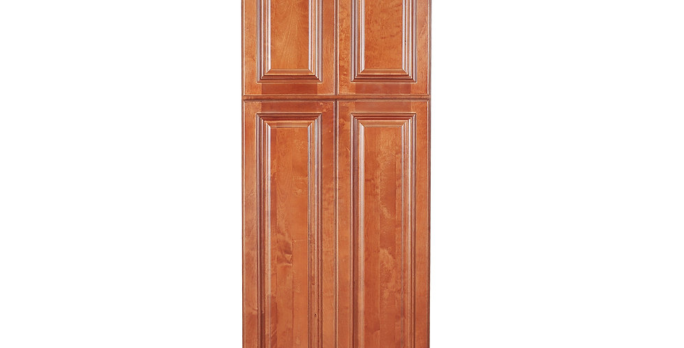 Wine Maple Pantry Cabinet with Four Doors